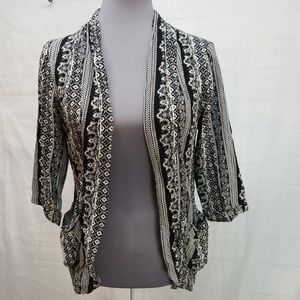 ☆ forever 21 geometric print open front cardigan S
